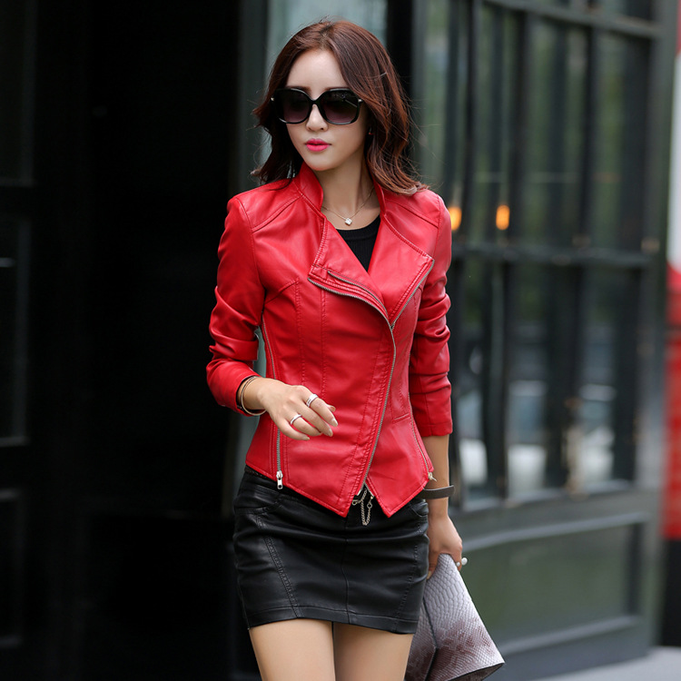 New 2016 Autumn Women Short Pu   Leather   Jackets Outwear Stand Collar Slim Coats Casual Ladies Clothing Plus Size MLZ043
