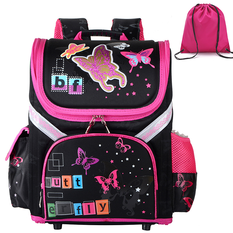 New Orthopedic Schoolbag Girls Backpacks For School Cartoon Butterfly Kids Satchel Children School Bags Knapsack Mochila Escolar