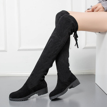WADNASO Ladies Shoes Slim Sexy Over The Knee High Boots Suede Women Autumn Winter Boots Women's Thigh High Boots Shoes Woman 40 2018 hot women over the knee high boots autumn winter knitted shoes long thigh high boots elastic slim fit socks boots
