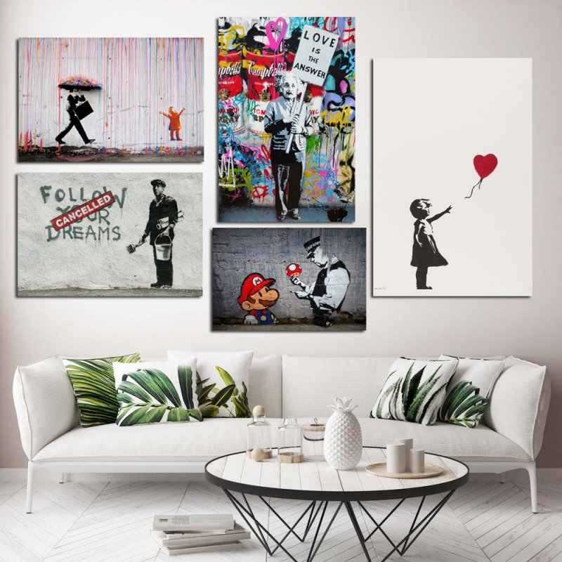 Banksy Graffiti Canvas Paintings Street Art Prints Wall Mario Poster Pop Girl Balloon Picture for Living Room Decorative Unframe