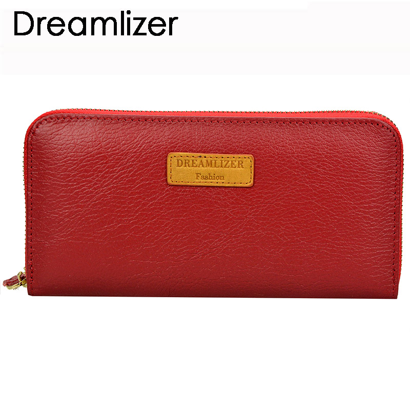 Dreamlizer RFID Blocking Zipper Around Women Leather Wallet Long Portefeuille Femme Clutch Purse Female Coin Lady Bag