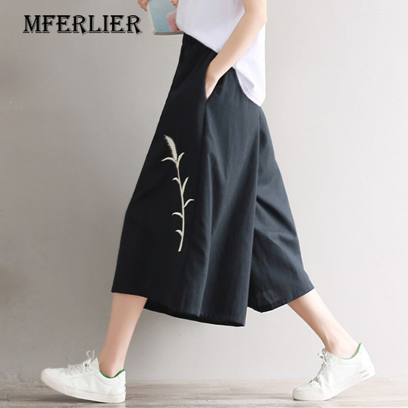 Mferlier Summer Trousers Vintage Grass Embroidered Woman   Pants   Loose Solid Black Elastic High Waist   Wide     Leg     Pants