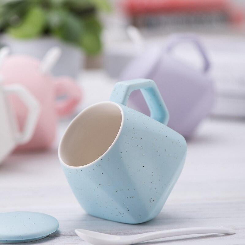 Creative Rhombus Mugs Ceramic Cup Retro Coffee Cups Breakfast Milk Mug Personality Tea Water Drinkware with Lid Spoon for Gift
