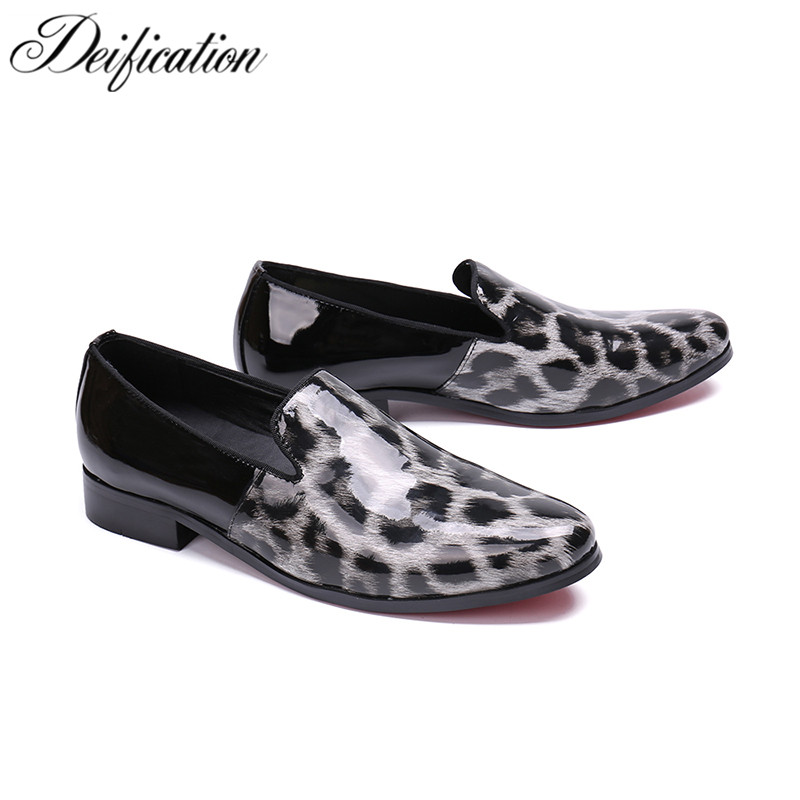 Fashion Leopard Printed Mocassin Homme Slip On Man Shoes Leather Genuine Italian Style Male Smoking Driving Shoes Mens Flats 47 in Men 39 s Casual Shoes from Shoes