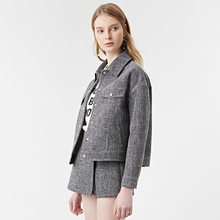 2 unidades set mujeres sólido blanco gris bombardero chaqueta blazer  chaqueta de vuelo + pantskirt pantalones cortos falda 2018 7da0e70712a