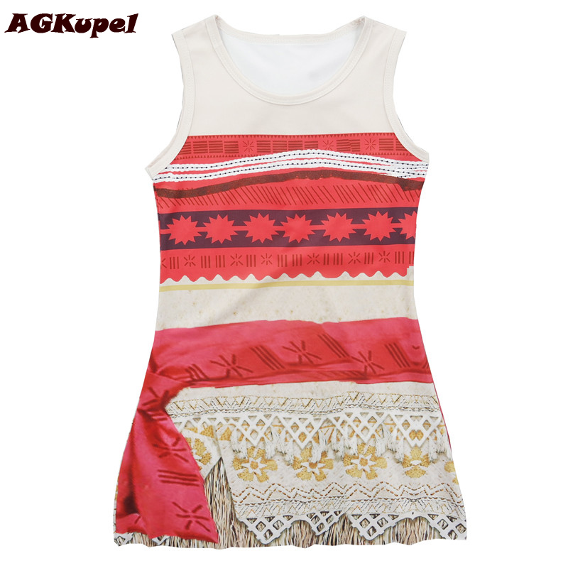 AGKupel New Summer Moana Dress 2017 Brand Girl Dress For Baby Princess Dress Girls Clothes Christmas Party Cosplay Kids Clothes amuybeen new 2017 summer dress child swimsuit cartoon moana cosplay girls swimming jumpsuits party fashion moana costume dress