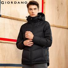 Giordano Men Downs Jackets Hooded Long Sleeves Black Down Coat Outerwear Windproof Warm Clothing Vetement Parkas Puffer(China)
