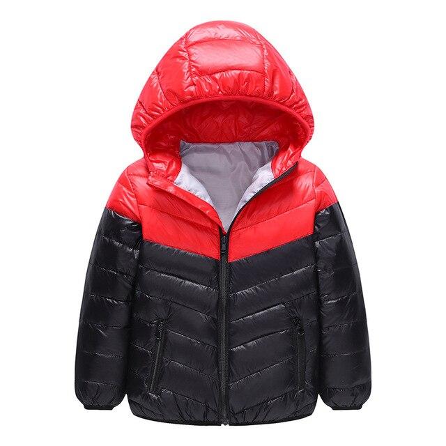 Chaqueta de invierno para bebé muchachos grandes patchwork con capucha de  pato blanco abajo chaquetas de 5f7b69518614d