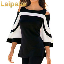 Laipelar Women Blouse 2018 Autumn Black White Colorblock Bell Sleeve Cold Shoulder Top Mujer Camisa Office Ladies Autumn Clothes cold shoulder bell sleeve backless blouse