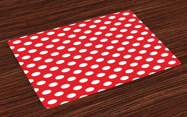 Retro Place Mats 50s 60s Iconic Pop Art Style White Polka Dots Picnic Vintage Old
