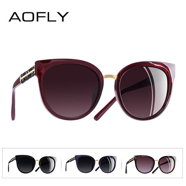 AOFLY BRAND DESIGN Hand Made Luxury Cat Eye Sun glasses For Women Polarized Sunglasses Goggles UV400 A138 3