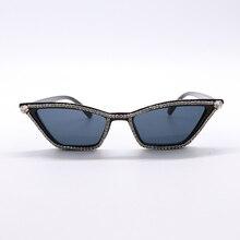 Rhinestone Small Cat Eye Sunglasses Vintage Square Shade Women Eyewear Shinny Crystal Sexy Lady Sun Glasses