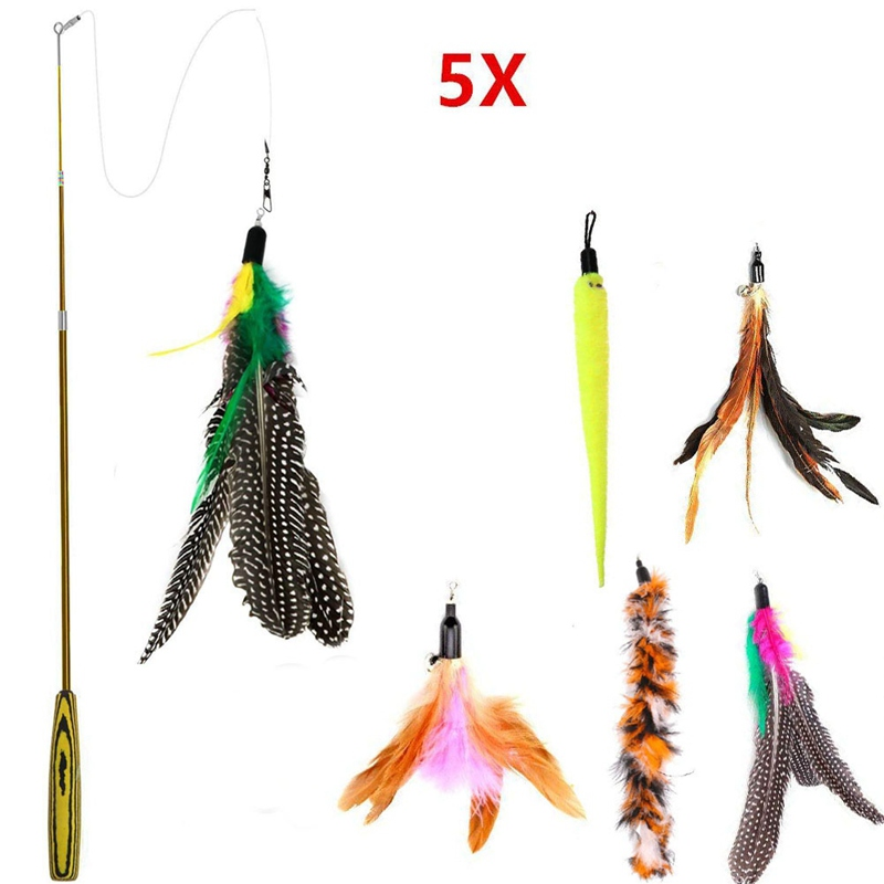 Interactive Elastic Pet <font><b>Cat</b></font> Playing <font><b>Sticks</b></font> <font><b>Feather</b></font> <font><b>Toy</b></font> with 5 Replace Head Fishing Rod Shaped <font><b>Cat</b></font> Tracing Bell <font><b>Toys</b></font> Supplies image
