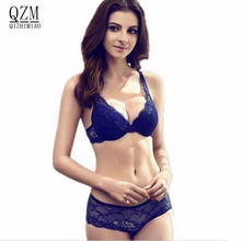 2018 NEWEST Women A/B/C Cup Push Up Bra Set Sexy V -Neck Plunge Lace Bra + Briefs , lace bra sexy lingerie bra Free Shipping