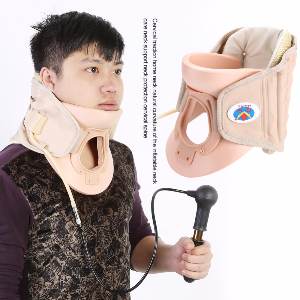 Cervical Collar Neck Brace Air Traction Therapy Device Relax Pain Relief Neck Support Fixture Neck Traction Brace Neck Massager high end health care neck cervical traction ems therapy massage collar infrared heating magnet vibration massager pain relief