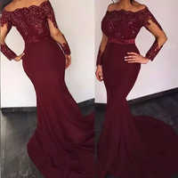 Burgundy Red Mermaid Evening Dresses Bateau Neck vestidos largos Sequins Appliques Prom Dresses Long Sleeves Party Evening Gown