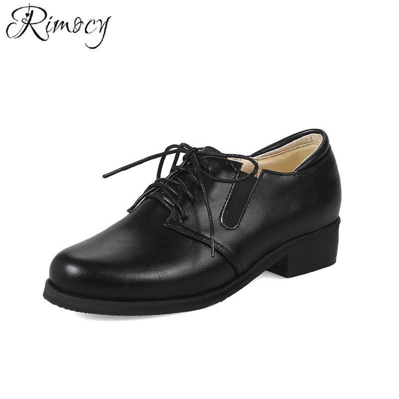 Rimocy 2018 Spring Autumn Women Flats Shoes Platform Leather Casual Shoes Lace Up Flats Oxfords Dress Shoes Woman Big Size 33-46 hizcinth 2018 spring women shoes shallow lace up square toe single shoes woman geometric stars casual flats platform shoes