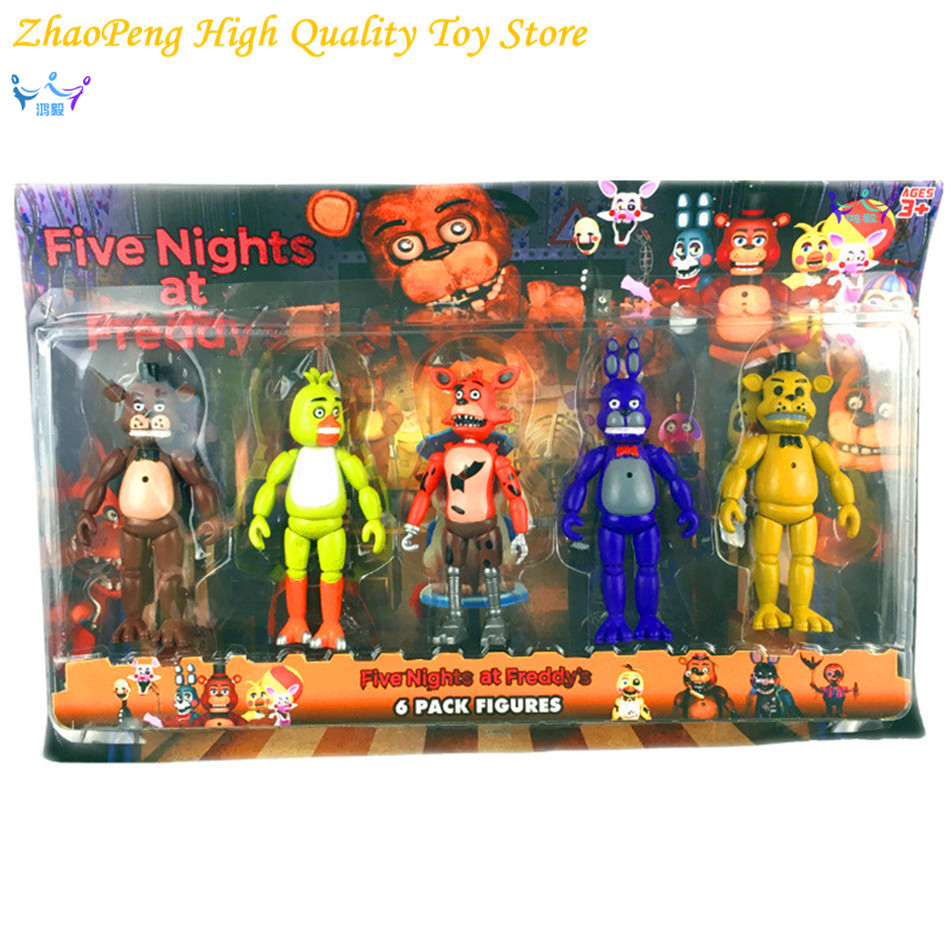 5pcs/set Five Nights At Freddy's FNAF 5.5 PVC Action Figure Toys Foxy Gold Freddy Chica Freddy With Christmas gift FB184