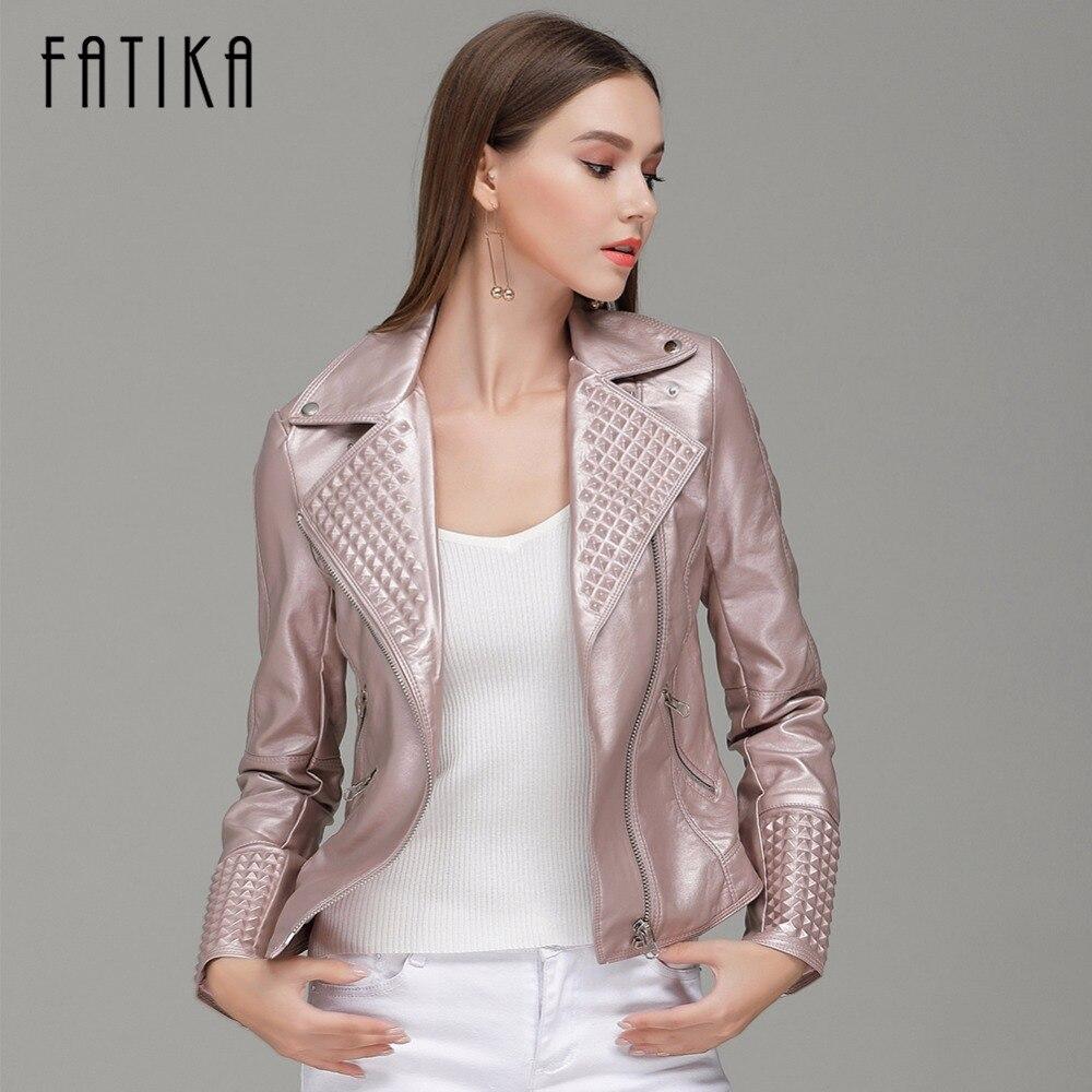 FATIKA 2017 Autumn Winter Fashion Women Faux   Leather   Jacket Zippers Coat With Pockets Flying Motorcycle Jackets Outwear
