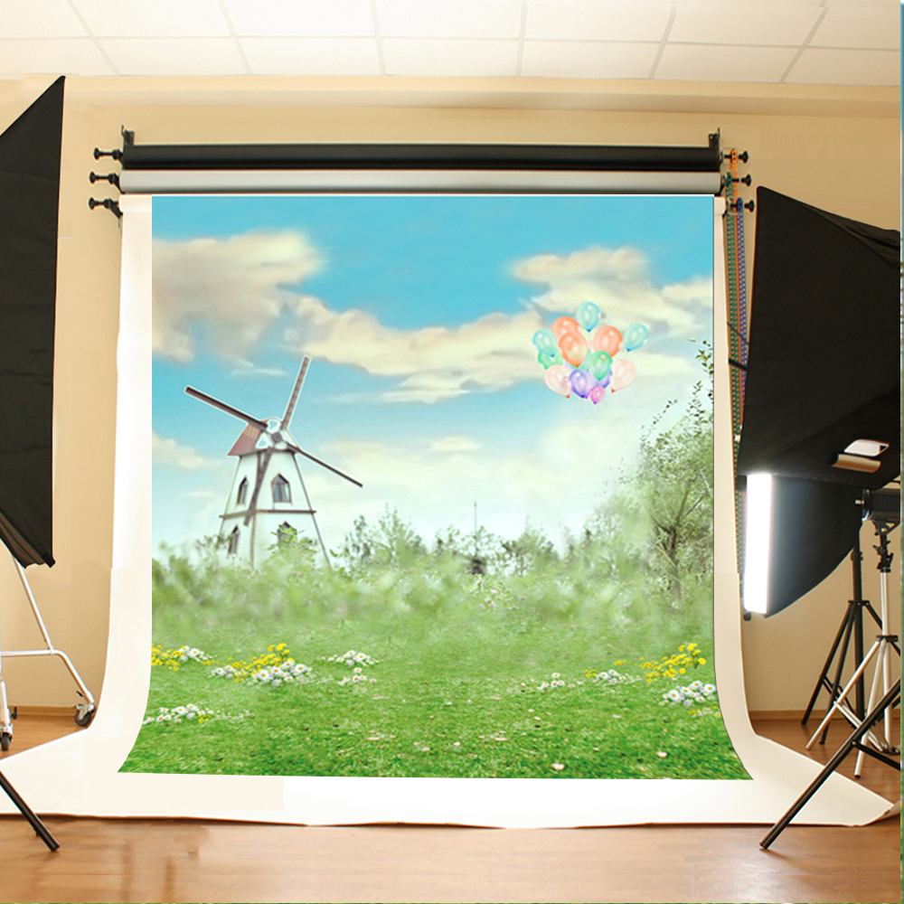 Color booth online - Wedding Photo Background White Flowers And Grass Photo Booth Backdrop Color Balloon Windmill Background For Photographic