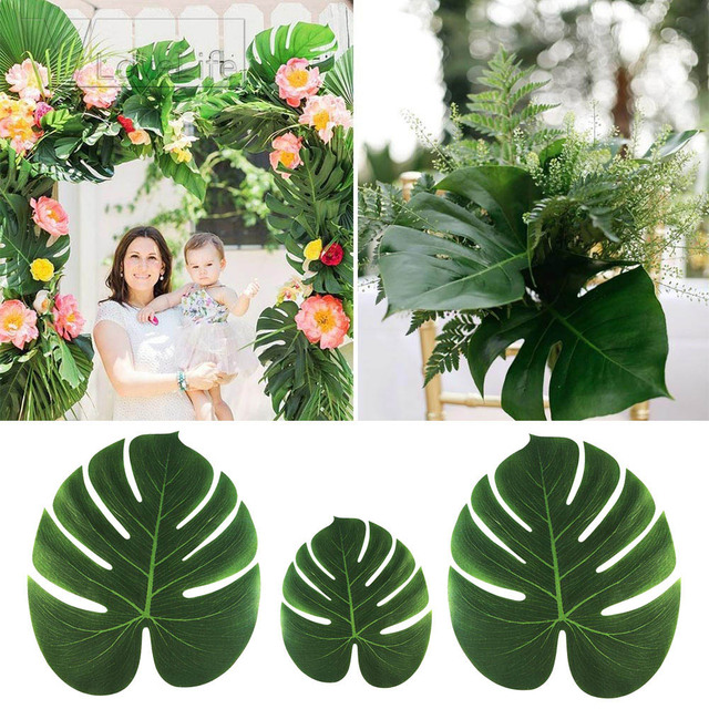 12pcs Artificial Leaf Tropical Palm Leaves Simulation Leaf For