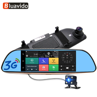 Bluavido 7IPS 3G Android Car rearview mirror DVR GPS Navigation full hd 1080P video Camera recorder WiFi Bluetooth Car detector