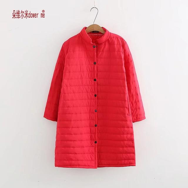 Dower 저에게 플러스 사이즈 얇은 빨간색 탈지면 가을 겨울 재킷 여성 긴 패딩 코트 착실히 보내다 따뜻한 Chaquetas 파카 Feminina