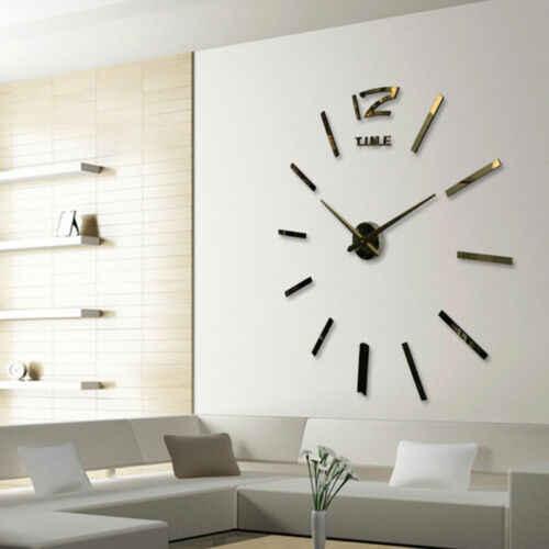 Tự làm Hiện Đại Groß Wanduhr Bộ 3D Spiegel Oberfläche Aufkleber Heimbüro Phong Cách 3D đồng hồ treo tường