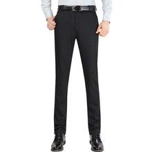 Размер 29-38 без морщин Свадебные черные мужские деловые штаны Офисная Рабочая одежда повседневные мужские костюмные брюки тонкие модные деловые брюки