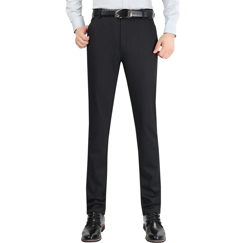 Size 29-38 Wrinkle Free Wedding Black Mens Formal Pants Office Workwear  Casual Men Suit pants Slim Fashion Business Trousers 965354439d8a