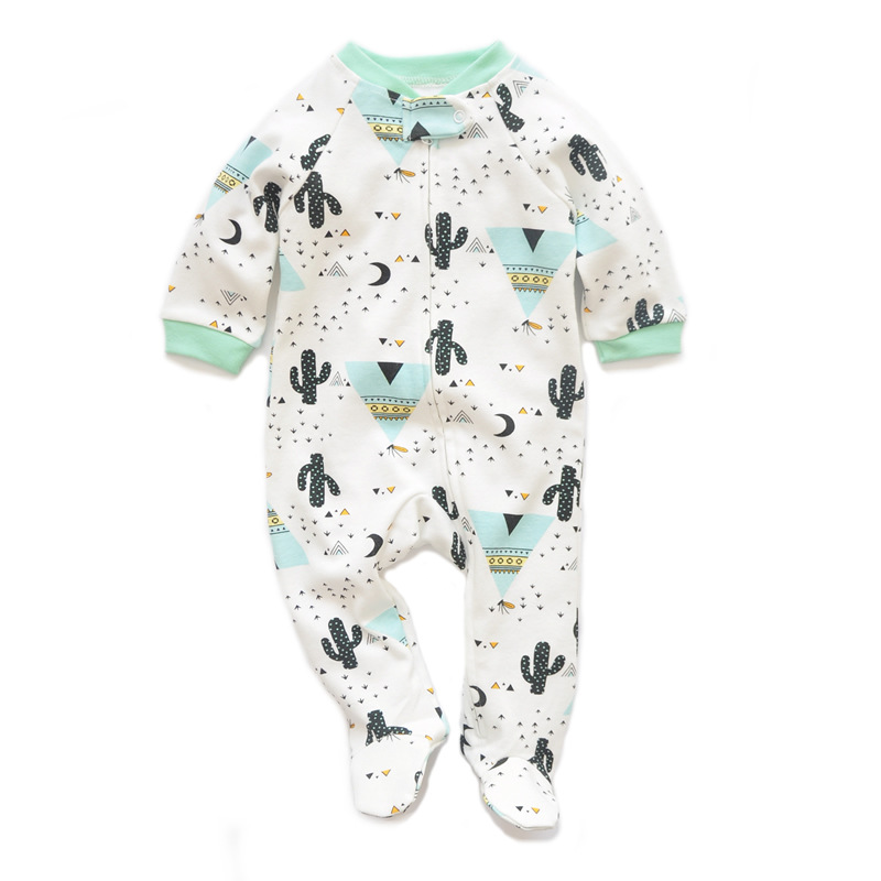 Baby Boys Girls Long Sleeve Romper Jumpsuit Playsuit Cactus Outfits Newborn Zipper One Piece Cute Infant Rompers Footed Clothing
