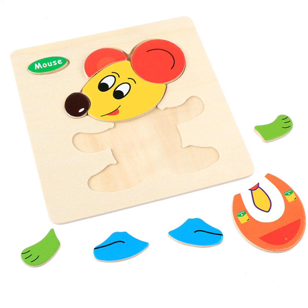 1PCS Baby 3D Wooden Puzzle Toys for Children Cartoon Animal Vehicle Wood Jigsaw Kids Baby Early Educational Learning Toy in Puzzles from Toys Hobbies