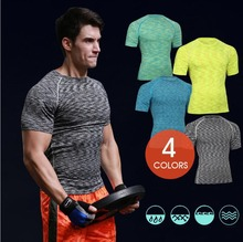 New 2018 PRO workout clothes tights running elastic quick-drying GYM Fitness T-shirt camouflage short sleeves Exercise T-shirts