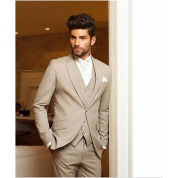 Custom Made Beige Men Wedding Suits Custom Made Business Formal Suits 3 Piece Groom Tuxedos (Jacket+Pants+Vest)
