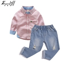 Sardiff 2017 Kids 2 Pieces Embroidered Pocket Shirt+Jeans Pants Fashion Boys Jeans Clothing Set Casual Shirts And Elastic Waist