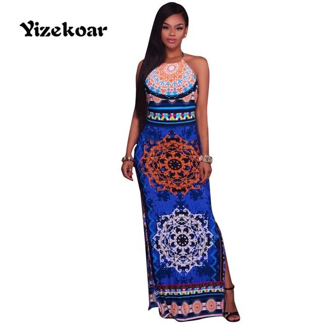 premium selection ebd05 2847e US $40.12 |Yizekoar Frau Schulterfrei Backless Kleid Neckholder Mint Orange  Multi Farbe Aztec Drucken Maxi Kleid Reizvolle Split kleid in Yizekoar ...