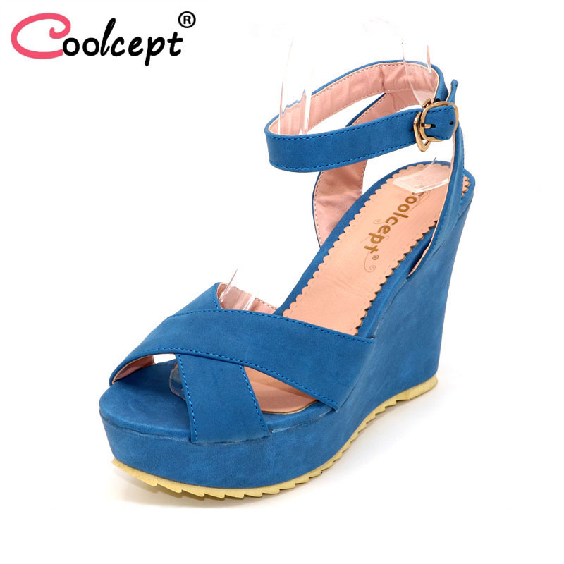 Coolcept P13918 free shipping quality wedge sandals platform women sexy fashion lady female shoes P13918 hot sale EUR size 34-39 anmairon shallow leisure striped sandals women flats shoes new big size34 43 pu free shipping fashion hot sale platform sandals