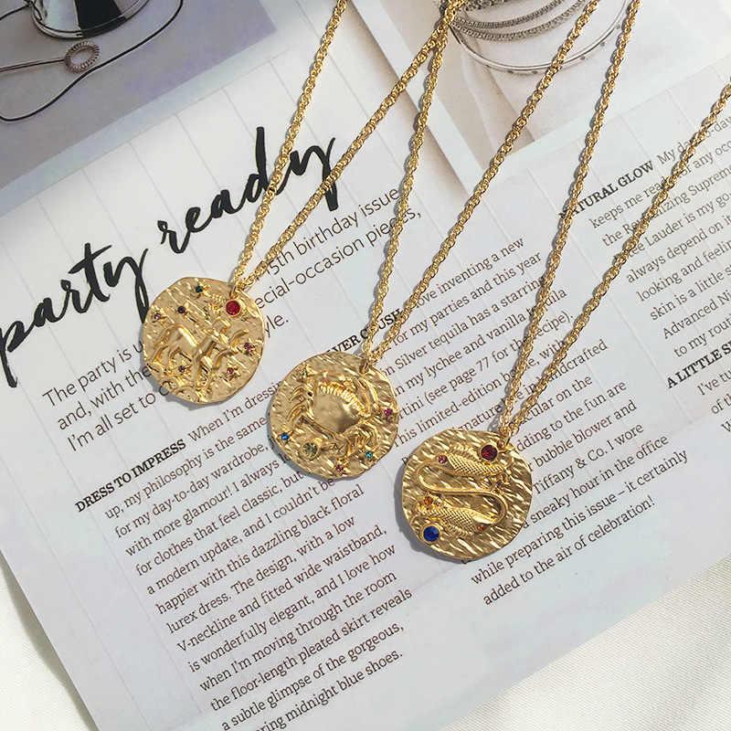 Темперамент прилив бренд тиснением Созвездие монет подвесное ожерелье в стиле ретро мечта барокко двенадцать созвездий волнистая цепь