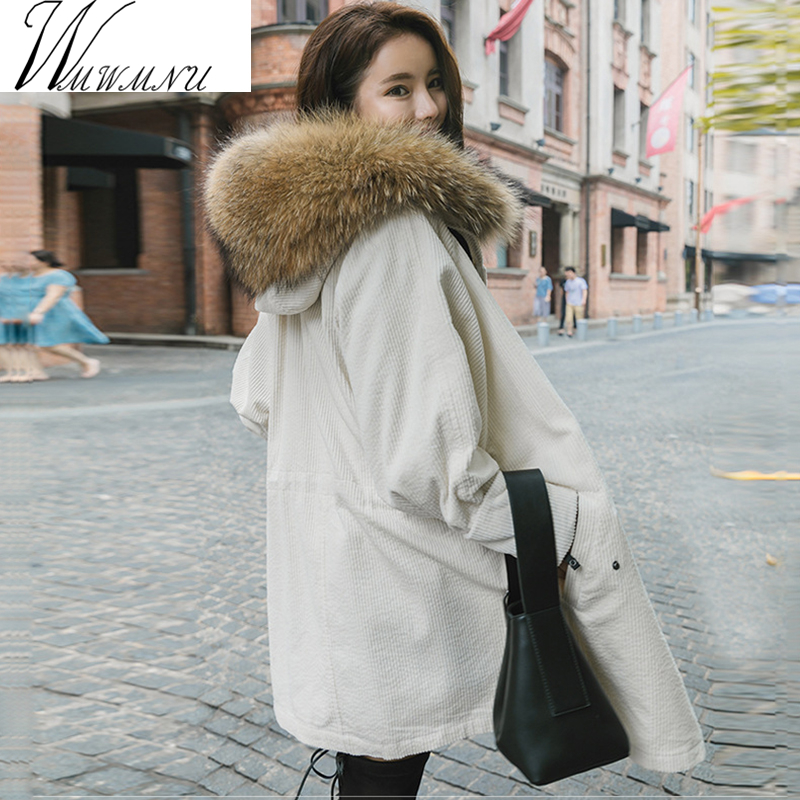 Winter Jacket Women natural/faux Large Raccoon Fur Parkas 2017 Corduroy Winter jackets Lady Thick Fake Lambswool Lining Coats faux fur contrast cuff corduroy jacket