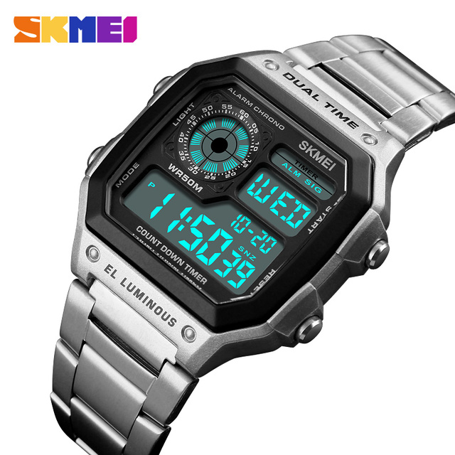 SKMEI Top luxe Sport Horloge Mannen Lichtgevende 5Bar Waterdichte Horloges Roestvrij Stalen Band Digitale Horloge Relogio Masculino 1335