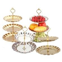Neue Obstteller Stehen Gebäck Tablett Süßigkeiten Gerichte Kuchen Desserts 2/3 Schicht Edelstahl Partei Dekoration