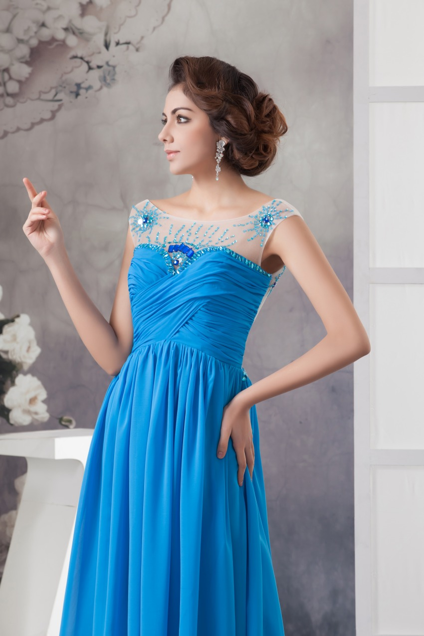 Sexy Backless Blue Long Evening Dresses 2017 New Arrivals A Line ...