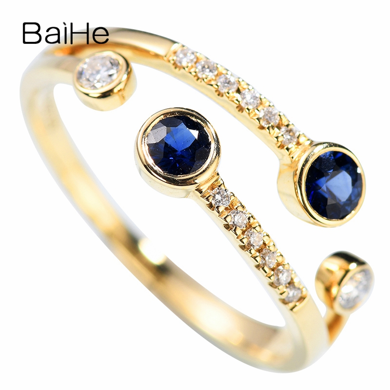 BAIHE Solid 14K Yellow Gold 0.2ct Certified Flawless 100% Genuine Natural Sapphirs Wedding Women Classic Fine Jewelry Gift Ring