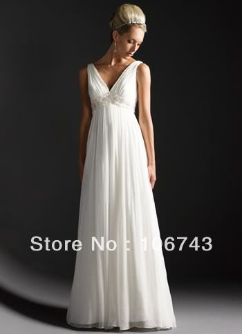 free shipping 2016 new style Sexy brides maid dresses v neck white chiffon Custom size crystal beading empire wedding dress in Wedding Dresses from Weddings Events