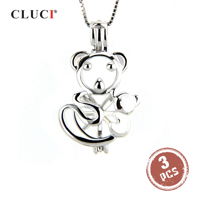 CLUCI 3pcs Cute Bear Shaped Silver 925 Pendant For Necklace Jewelry Making Women Fine 925 Sterling Silver Pearl Locket Jewelry