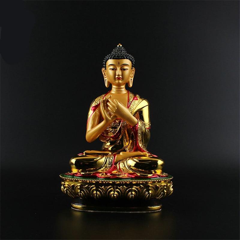 Exquisite Big Buddha Statue 20.5cm Gold Colored Plating Resin Quality Buddhist Tibetan Rulai Vairocana Statue Figure