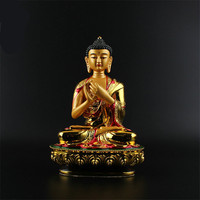 Exquisite Big Buddha Statue 20.5cm Gold Colored Plating Resin Quality Buddhist Tibetan Rulai Vairocana Statue Figure