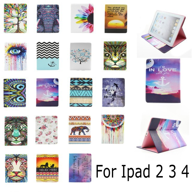 Fashion Cartoon flower tree abstract painting Wallet Card PU Leather Stand Case Cover For Ipad 2 3 4 new ipad