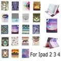 Pintura abstracta del árbol de la flor de dibujos animados de moda cartera de tarjeta de soporte de cuero pu funda para ipad 2 3 4 nuevo ipad