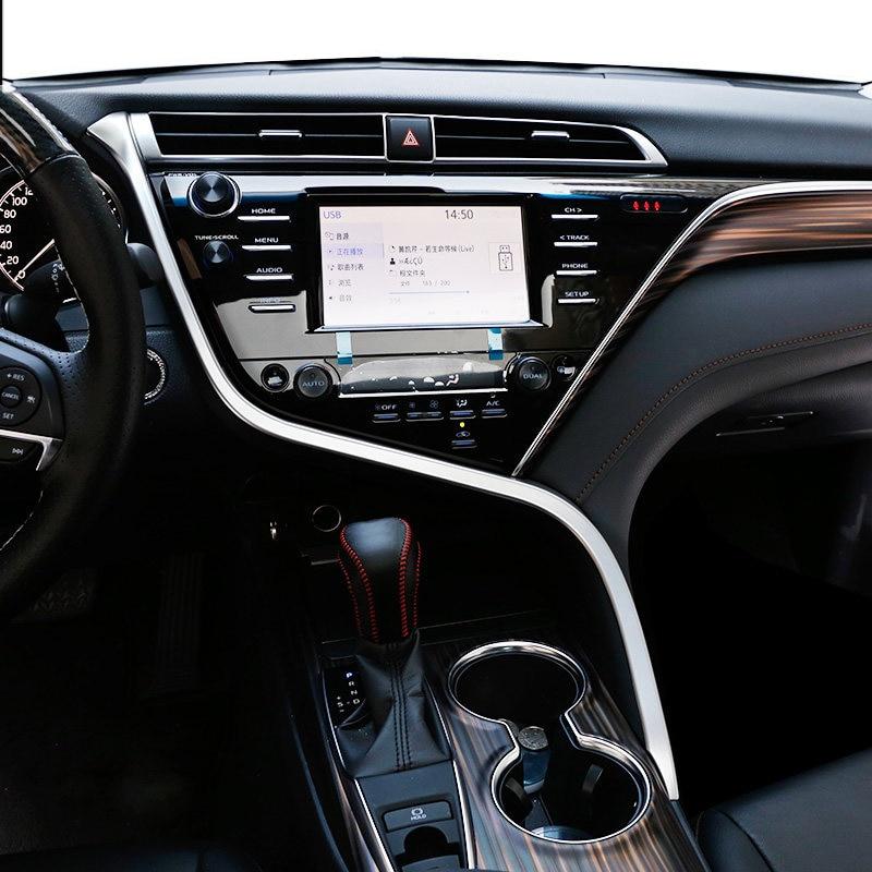 1 шт. ABS Матовый подкладке средней консоли S Форма Обложка украшения отделка для Toyota Camry XV70 2018 (только Fit левый)